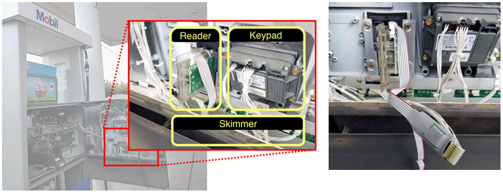 credit card skimmers at gas pumps