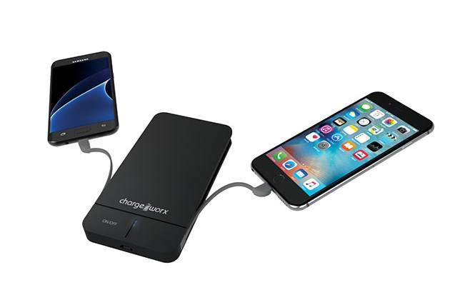 Chargeworx 5000mAh Slim Power Bank with Built-In Lightning & Micro USB Cables for $19