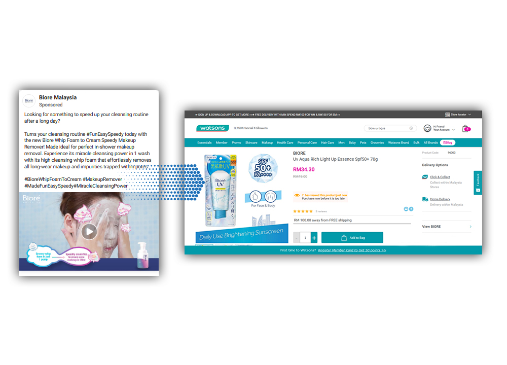 Biore Malaysia launched Collaborative Ad to direct customers to Watsons online store