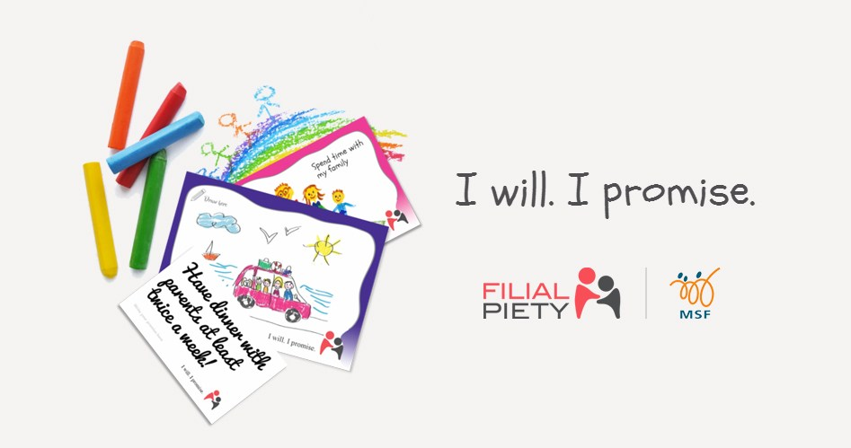 """MSF Singapore amplifies online marketing, digital marketing, and content marketing strategy in promoting Filial Piety the with """"I will. I promise"""" cards."""