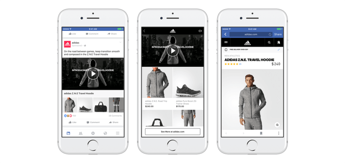 Here's what you need to know about Facebook's Collection Ads! Find out how this alluring Facebook ad format can benefit your digital marketing campaigns. This is a screenshot of Adidas' Facebook Collection Ad.