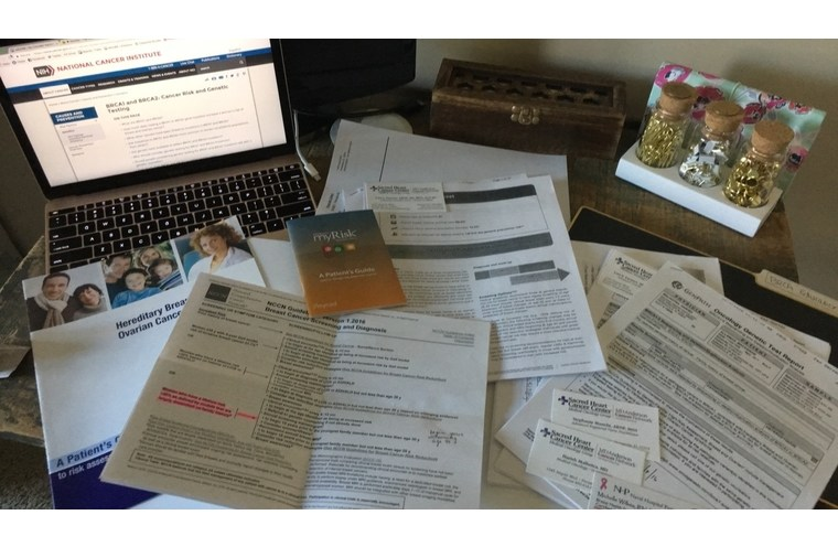 BRCA medical papers on a desk