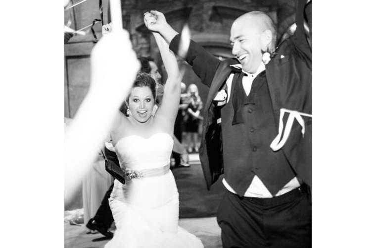 bride and groom celebrating anniversary