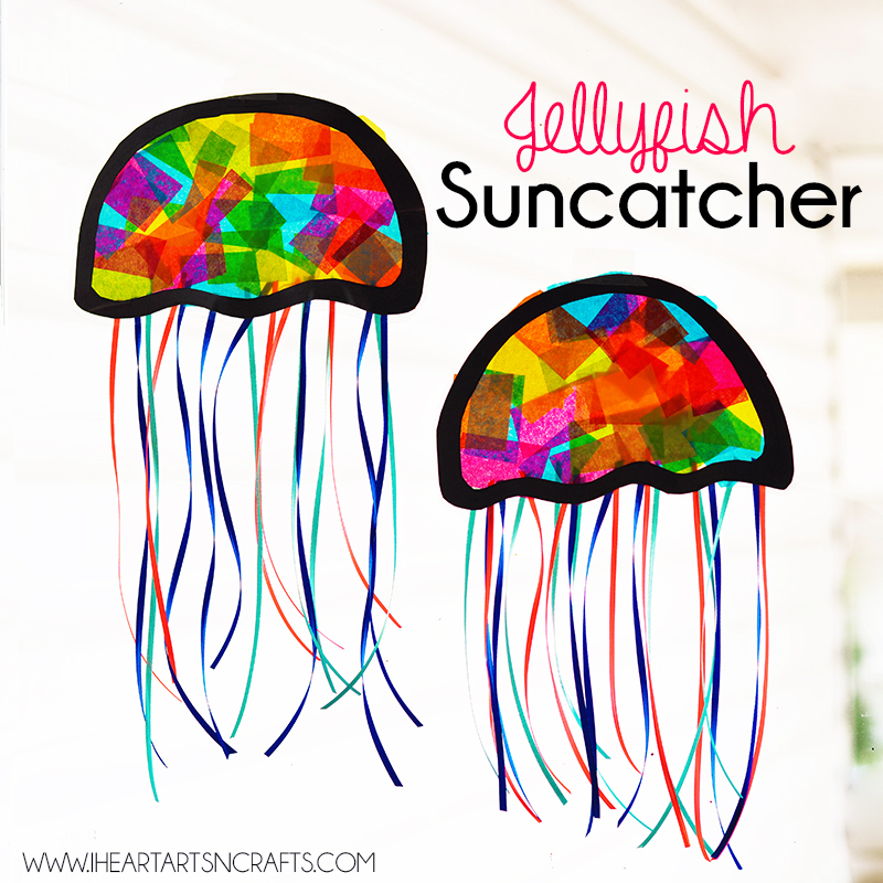 Easy and Colorful Jellyfish Suncatcher Kids Craft via I Heart Arts and Crafts