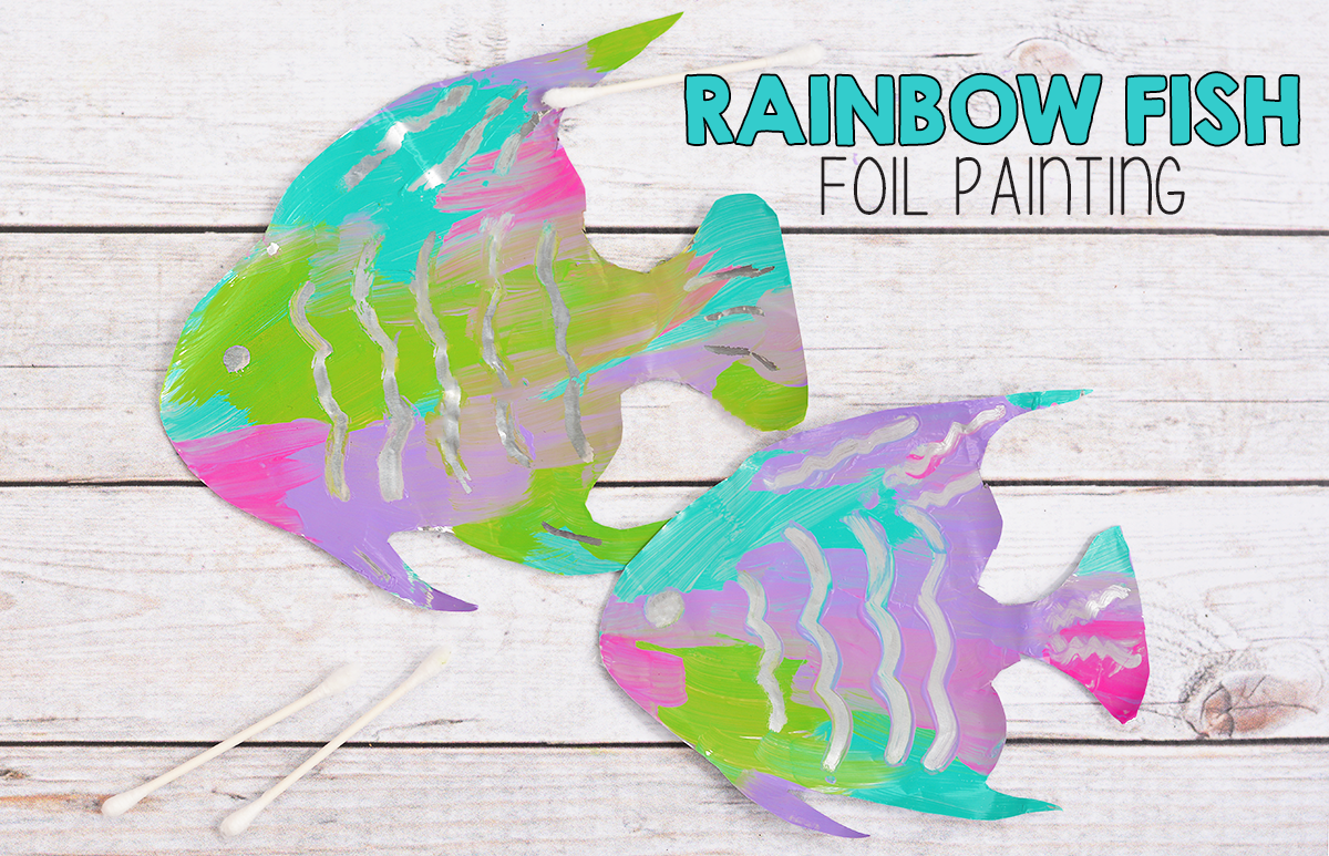 Fine Motor Rainbow Fish Foil Painting Activity