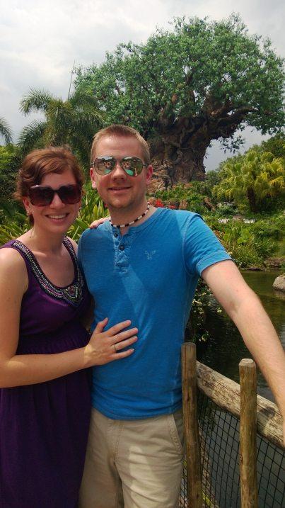 Us lookin' hawt in front of some crazy huge Disney Tree