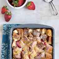Overnight Strawberry Cream Cheese-Stuffed French Toast Casserole