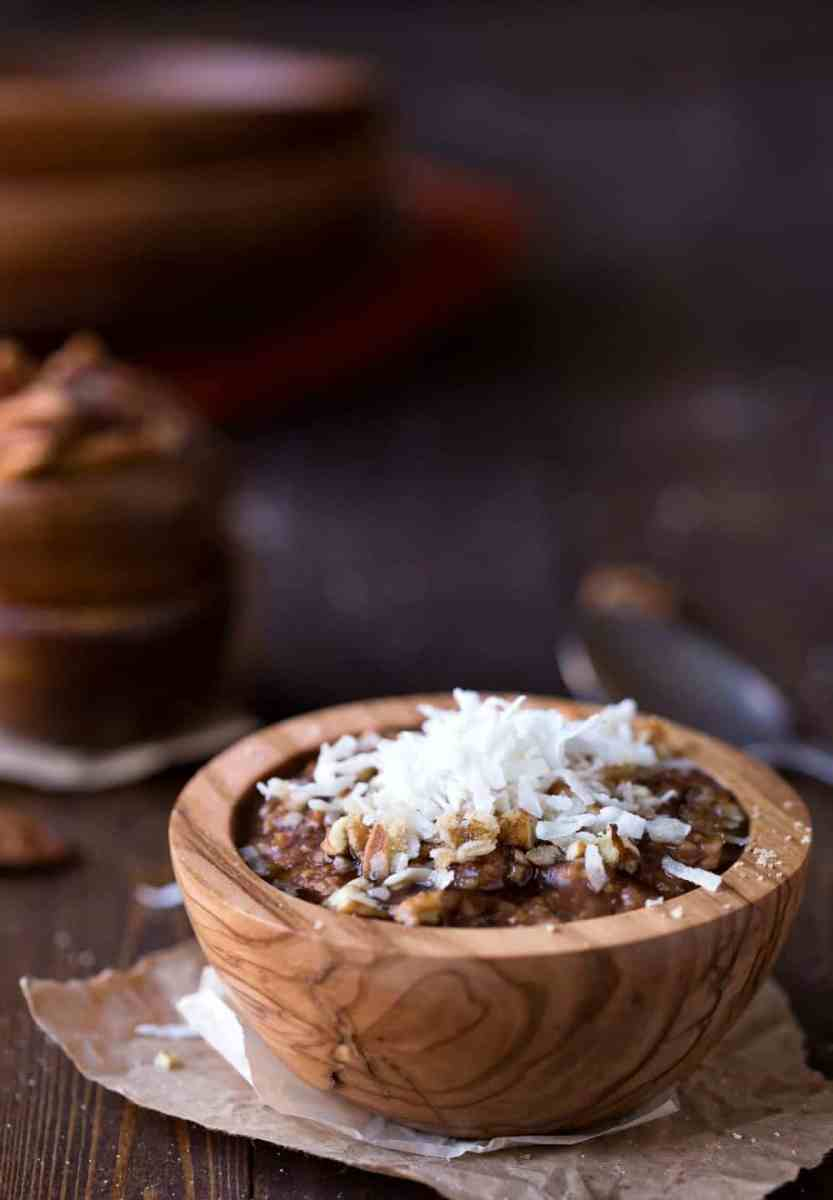 Overnight Crockpot German Chocolate Oatmeal