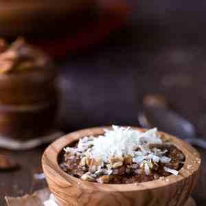 Overnight Crockpot German Chocolate Oatmeal