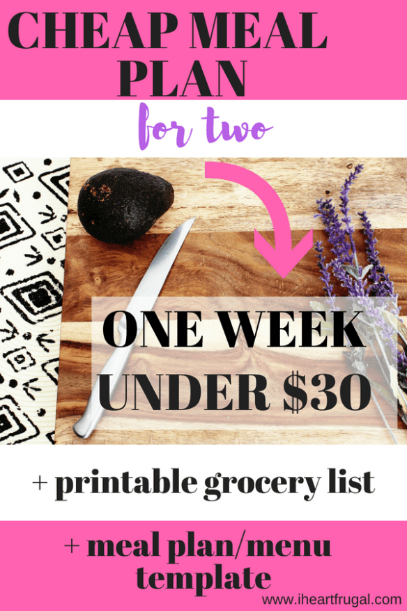 Cheap Meal Plan for Two - Under $30 for Breakfast, Lunch