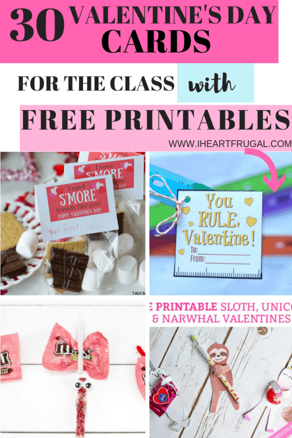 Valentine's Day Cards With Free Printables for Kids #Valentinesday #freeprintables #valentinesday #frugal