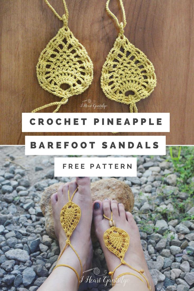 141b2ce224910 Crochet Pineapple Barefoot Sandals | I Heart Gantsilyo