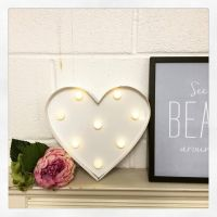 REDUCED HEART LED LIGHT UP WALL DECORATION - WHITE