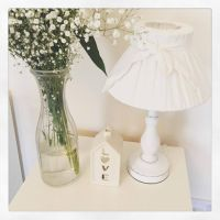 Shabby Chic Off White Bedside Wooden Lamp Base & Bow Linen ...