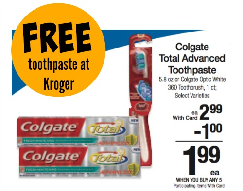There's a new printable coupon available for $1/1 Colgate Total, Optic White, Enamel Health, or Sensitive Toothpaste that you can use with an Extra Care Bucks deal at CVS this week.. Deals available using the coupon include: CVS: Colgate Total Advanced Anticavity Fluoride And Antigingivitis Toothpaste( oz.), $