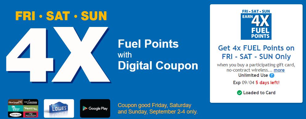 Kroger 4x Fuel Points