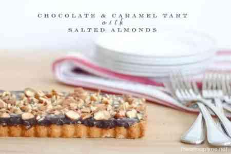 Chocolate & Caramel Tart with Salted Almonds