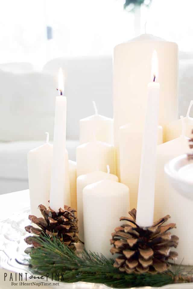 DIY Pine Cone Candle Holders  I Heart Nap Time