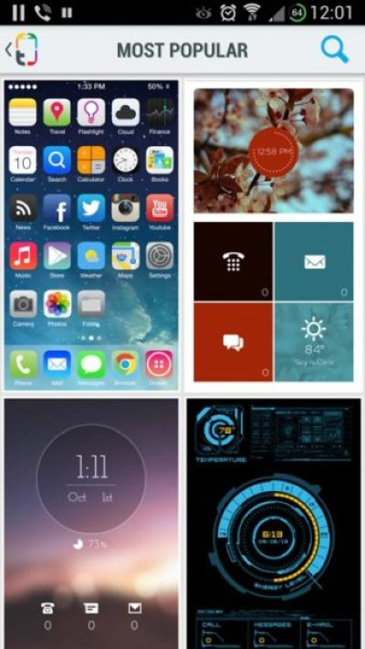 iOS 7 Theme Style is the most popular on Android phones