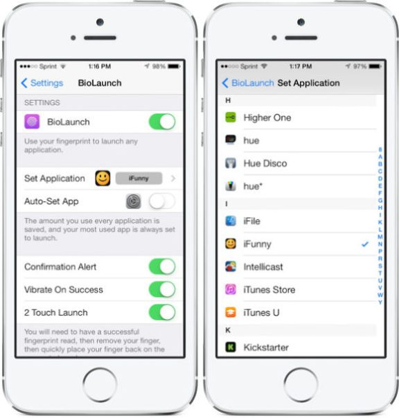 BioLaunch Smart Tweak for iPhone 5s let you launch apps from TouchID