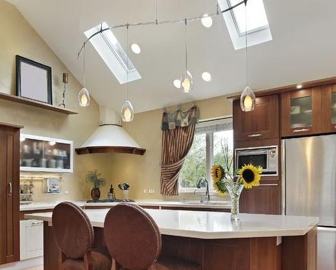 spotlights in vaulted ceiling