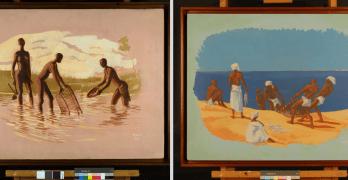 """""""Pesca Rio"""" e """"Pesca Mar"""". Pinturas de Albano Neves e Sousa"""
