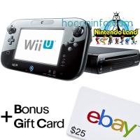 ihocon: Black Wii U 32GB Deluxe(REFURBISHED) + $25 eBay Gift Card with purchase