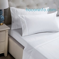 ihocon: Bedsure Damask Stripe Sheet Set, White, Full Size床單組