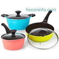 ihocon: Cook N Home 6 Piece Nonstick Ceramic Coating Die Cast Cookware Set 不沾鍋組