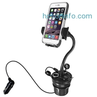 ihocon: Macally Car Cup Holder Phone Mount with Two USB Charging Ports汽車手機固定架