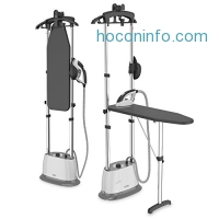 ihocon: PureSteam Duo Iron & Pressurized Garment Steamer – Heavy Duty 1600-Watt Power with 1 Liter Water Tank, Built-In Ironing Board, and Deluxe Garment Hanger with Clips