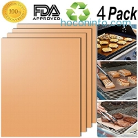 ihocon: [FDA-Approved] Smaid 100% Non-stick BBQ Grill Mats, 15.75 x 13 Inch(Set of 4)不沾烤肉墊/烤盤墊
