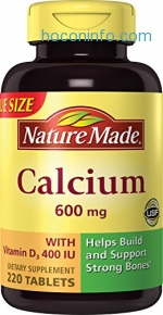 ihocon: Nature Made Calcium (Carbonate) 600 mg w. D3 400 IU Tablets Mega Size 220 Ct