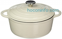ihocon: Creative Home Enameled  Dutch Oven Cast Iron Casserole, White, 2.75 quart