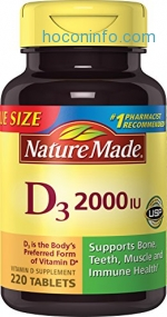 ihocon: Nature Made Vitamin D3 2000 IU Tablets 220 Ct Value Size (Packaging may vary)