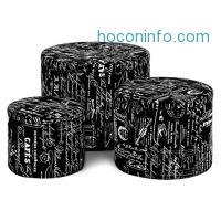 ihocon: LANGRIA 3-Piece Nesting Round French Fabric Storage Ottoman Set 儲物布面圓凳三個