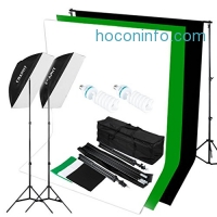 ihocon: CRAPHY 5500k Photography Studio Photo Portrait Flash Lighting Kit 125w Daylight Umbrella + Background Support Stand (10x6.5ft) + 3 Backdrops (White Black Green) + Carrying Bag