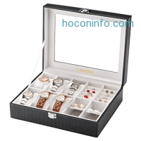 ihocon: LANGRIA 10-Compartment Faux Leather Watch Box手錶首飾盒