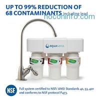 ihocon: Aquasana 厨房三階段净水系統 3-Stage Under Sink Water Filter System with Brushed Nickel Faucet AQ-5300.55