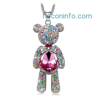ihocon: J.NINA Bear Princess Made with Pink Swarovski Crystals Cute Bear Design Women Jewelry Necklace