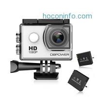 ihocon: DBPOWER Action Camera 12MP Waterproof with 2 Pcs Rechargeable Batteries