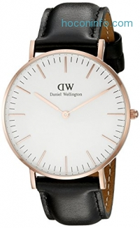 ihocon: Daniel Wellington女錶 Women's 0508DW Sheffield Analog Quartz Black Leather Watch
