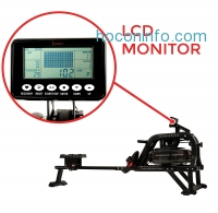 ihocon: Sunny Health & Fitness Water Rowing Machine Rower w/ LCD Monitor - Obsidian SF-RW5713划船機