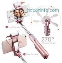 ihocon: Mpow Bluetooth Selfie Stick超級自拍桿- 含補光燈, 鏡子, 收納袋