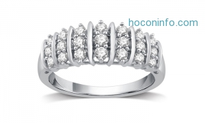 ihocon: 1/2 CTTW Genuine Diamond Fashion Band in Sterling Silver By DeCarat