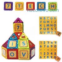 ihocon: 7TECH Magnetic 3D Building Blocks 49 Pcs + 26 Alphanumeric Cards + 16 card cases 磁性積木