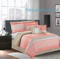 ihocon: Luxury Home 7-Piece Central Park Coral Comforter Set, Queen, Central Park Coral