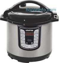 ihocon: Gourmia - 6-Quart Pressure Cooker - Stainless Steel/Black