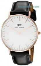 ihocon: Daniel Wellington Women's 0508DW Sheffield Analog Quartz Black Leather Watch