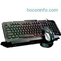 ihocon: Hhusali Mechanical Feeling Rainbow LED Backlit Gaming Keyboard & Mouse Combo遊戲鍵盤+滑鼠